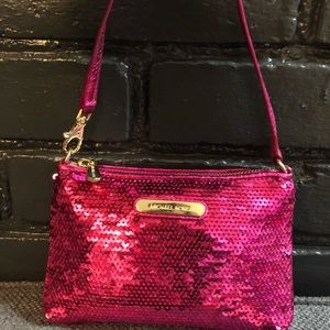 Michael Kors Hot Pink sequin wristlet mini purse